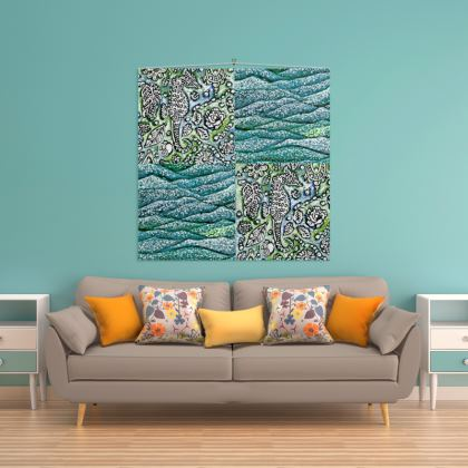'Underwater' Wall Hanging in Blue and Green