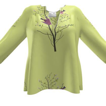 Women's Blouse - Emmeline Anne Birds On a Branch Lemon