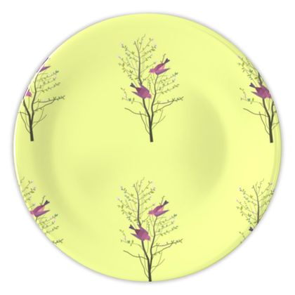 China Plates- Emmeline Anne Birds On a Branch Lemon