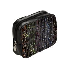 Cabaret Night - Make Up Bags - iridescent rainbow lurex, glitter black, sparkling sparks, scintillant, glamorous sheen, brilliant chic, Bohemian gift, spectacular, magical - design by Tiana Lofd