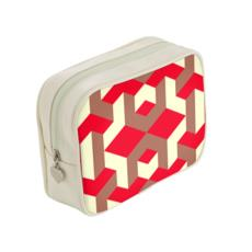 Heart in a cube - Make Up Bags - Abstract geometry, red, contrasting, bright, elegant, statement, futuristic, spectacular, graphic, noble, asymmetrical, effective, stylish gift - design by Tiana Lofd