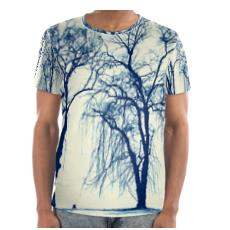 Blue Trees Cut and Sew T Shirt