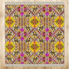 """498,- Das Schönste, was Du seit langem gesehen hast! ninibing34 DESIGNER Teppich """"MINERVA Purple"""" 128 x 128 cm, seidige Qualität mit Fransen"""