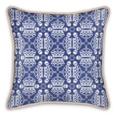 Dark Blue Crown Orb Silk Cushion