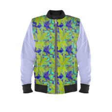 Yellow, Blue Mens Bomber Jacket  Lily Garden  Lemon Lily