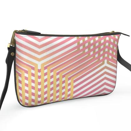 Pochette Double Zip Bag- Emmeline Anne Pink and Gold Dazzle