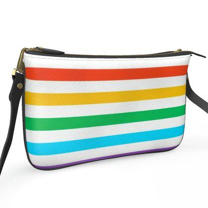 Pochette Double Zip Bag- Emmeline Anne Rainbow Stripes