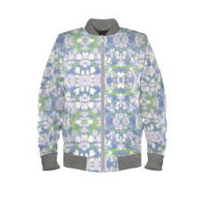Mens Bomber Jacket Blue, Green, Botanical  Laced Leaf  Platinum