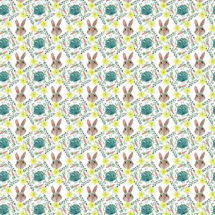 Easter bunny rabbit and cabbage fabric by Magenta Rose Designs at Contrado