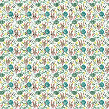 Rabbit and cabbage fabric, painted in watercolor