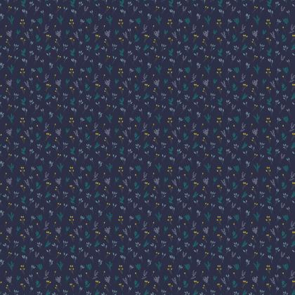 Blue Floral Branches Fabric