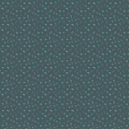 Teal Floral Branches #2 Fabric
