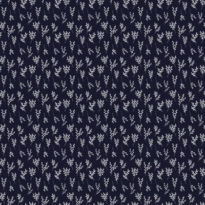 Navy/White Branches Fabric