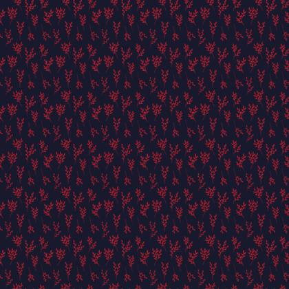 Navy/Red Branches Fabric
