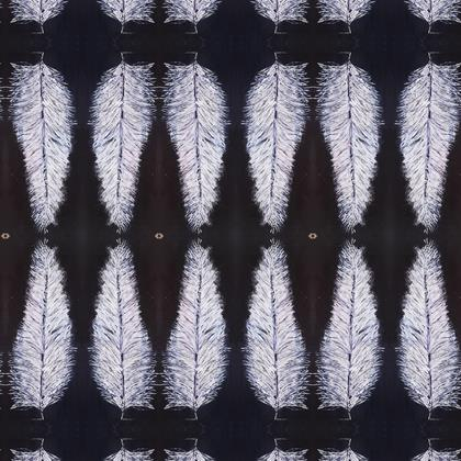Fabric Printing - White Feathers
