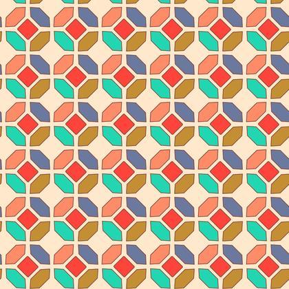 Fabric Printing Orange Mosaic Patetrn