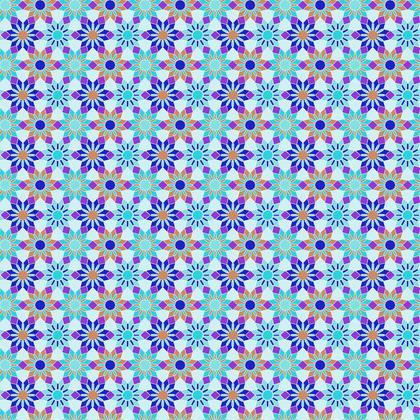 Fabric Printing Blue Floral Pattern