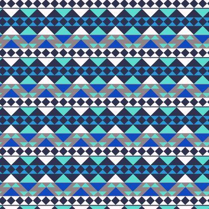 Fabric Printing Blue Mayan Pattern