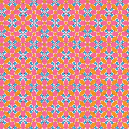 Fabric Printing Blue Orange Mosaic