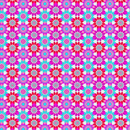Fabric Printing Blue Pink Floral Pattern