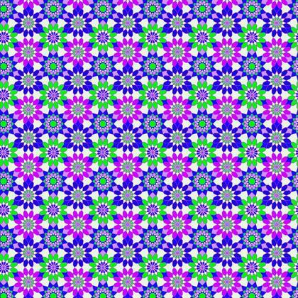 Fabric Printing Purple Green Flowers