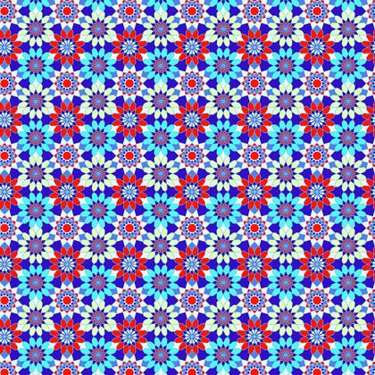 Fabric Printing Blue Red Flowers