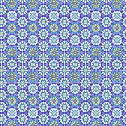Fabric Printing Arabic Blue Pattern