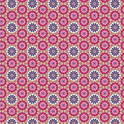 Fabric Printing Arabic Red Blue Pattern