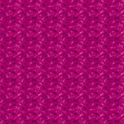 Hot Pink Fabric: Cats on Broomsticks - Repeat Pattern 11