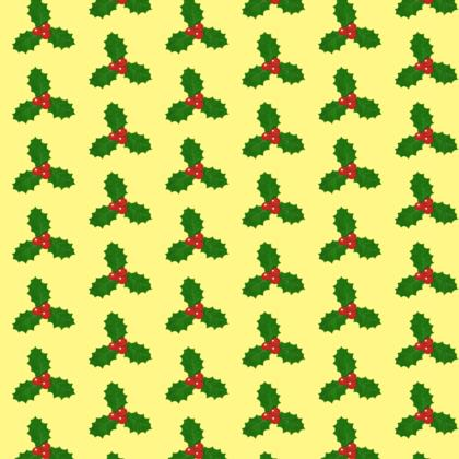 Holly Leaf Pattern with Yellow Background