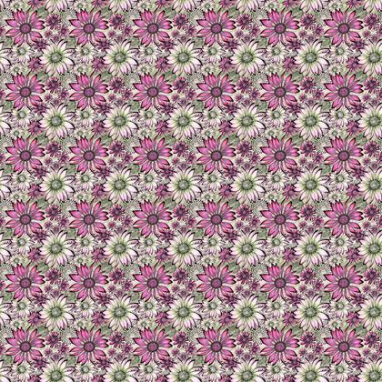 Fabric: Pink and Green Coneflowers