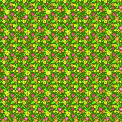 Fabric Pretty Garden Tulip Flowers Pattern