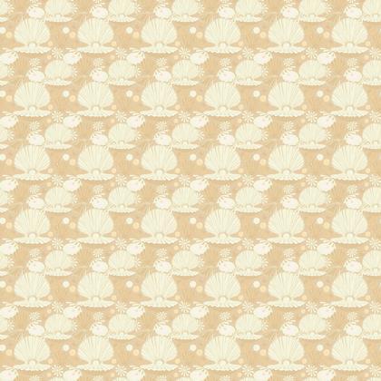 Fabric Seashells Pattern Beige Taupe White