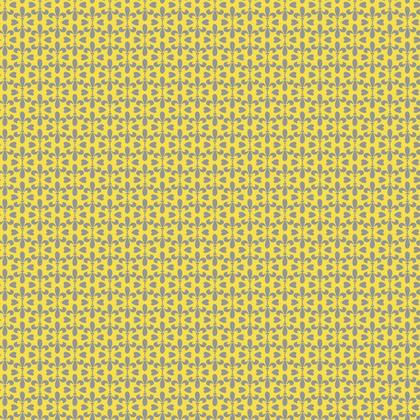 Fabric Mid Century Modern Yellow Grey Fleur-de-Lis Pattern