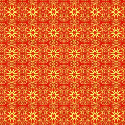 Vibrant Red and Yellow floral mandala print fabric