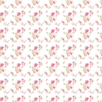 Fabric - Peonies pink on white