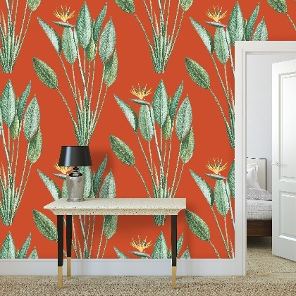 Wallpaper Roll   Paradise in Orange Red