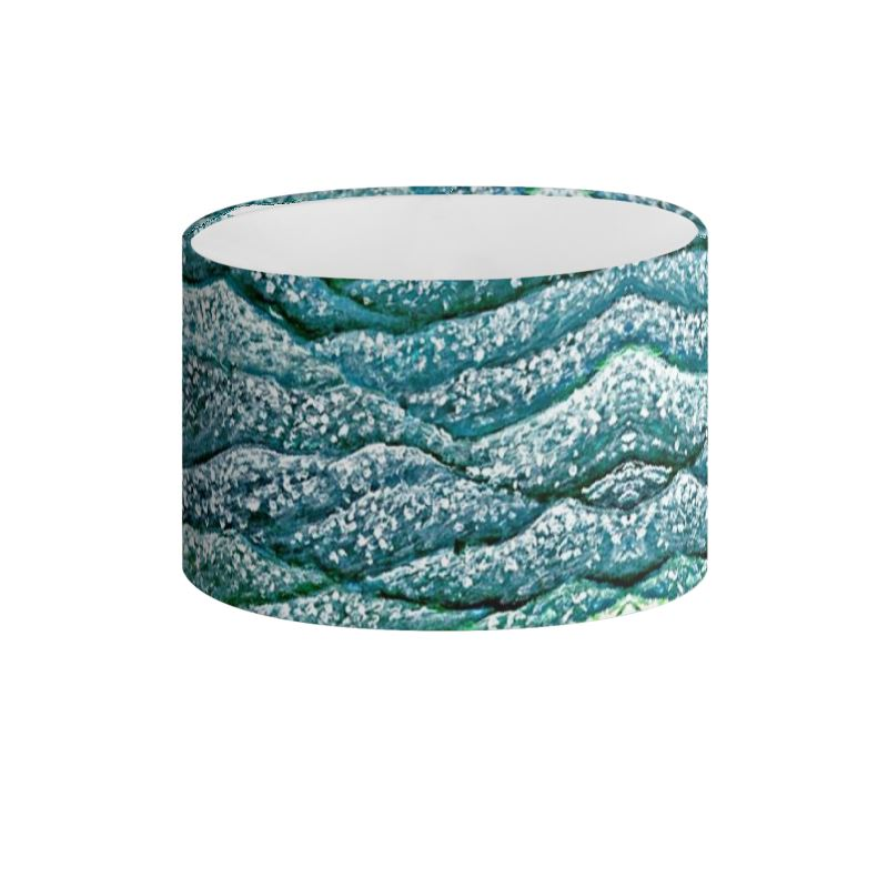 Ocean Waves Drum Lampshade In Blue And Green