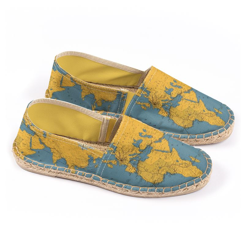 photo relating to Vintage World Map Printable called Espadrilles with typical Planet Map print.