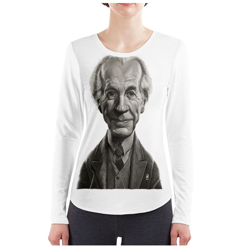 Frank Lloyd Wright Celebrity Caricature Ladies Long Sleeve