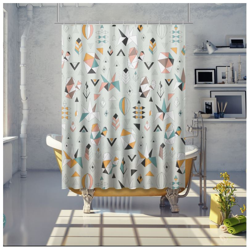 Geometric Cacti And Succulents Shower Curtain