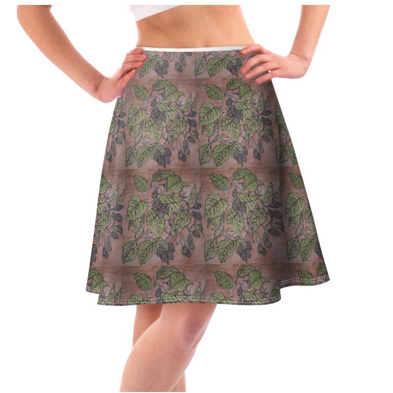 Alder Leaf Flared Skirt In Pink And Green