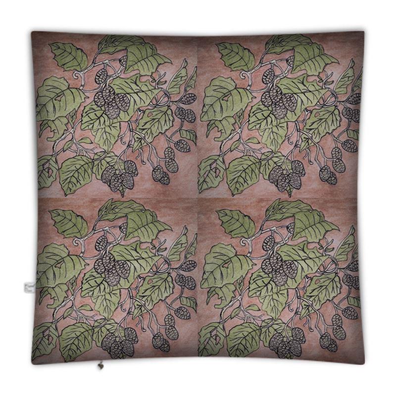 Alder Leaf Floor Cushion In Pink And Green