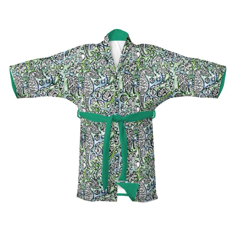 Seahorse I Kimono In Blue And Green