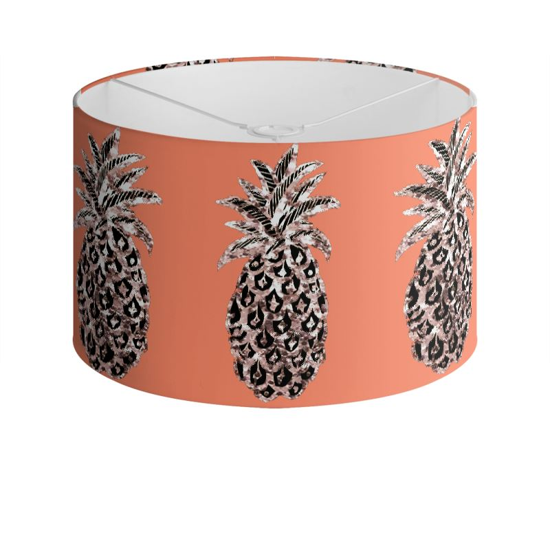 Pineapple print tangerine orange drum lamp shade metallic pineapple print tangerine orange drum lamp shade aloadofball Gallery