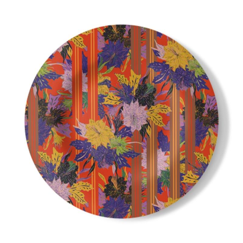 Floral Stripe Decorative Plate