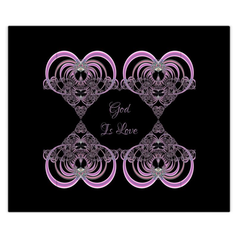 God is Love Fractal Hearts Duvet Cover