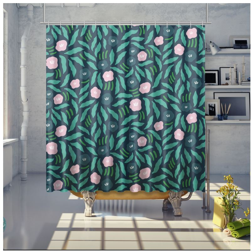 Free Flow Flowers Jungle Green Shower Curtain