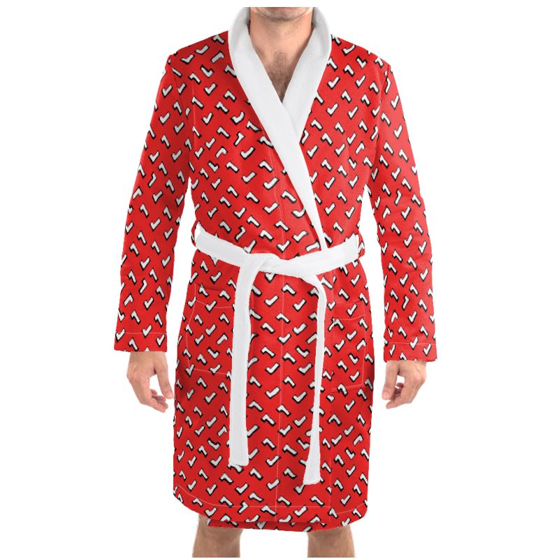 Cartoon Kid Dressing Gown in Tomato Red