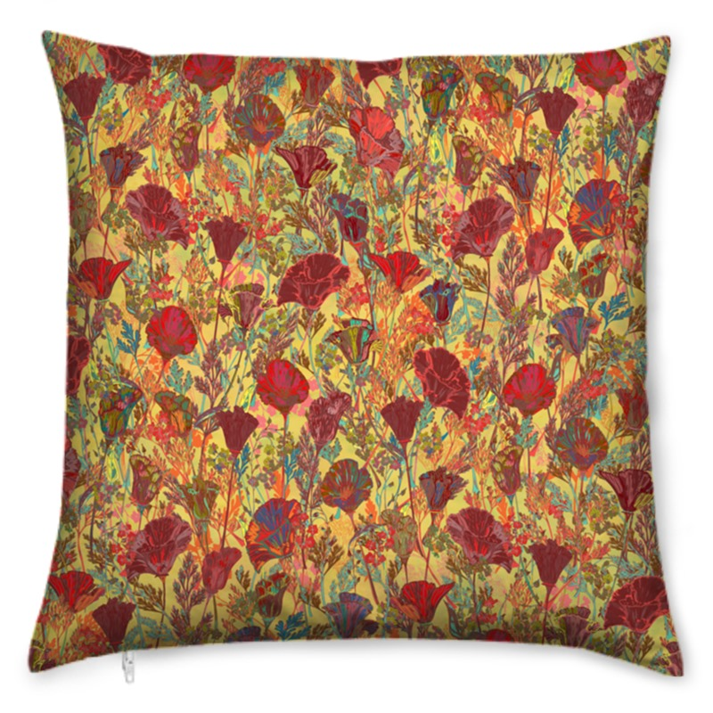 Poppy Pattern (Red/Gold) Cushion